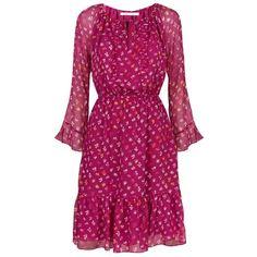 Diane von Furstenberg Simonia Silk Dress ($565) ❤ liked on Polyvore featuring dresses, bell sleeve dress, peasant dress, purple dress, floral dress and purple ruffle dress
