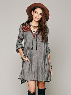 Free People Ties To Florence Dress in Gray (Black) | Lyst