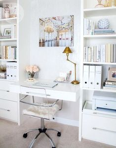 You won't mind getting work done with a home office like one of these. See these 20 inspiring photos for the best decorating and office design ideas for your home office, office furniture, home office ideas Home Office Space, Home Office Design, Home Office Decor, Office Ideas, Small Office, Office Nook, White Office, Gold Office, Office Spaces