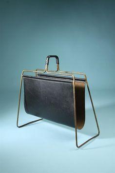 Carl Auböck; Brass and Leather Magazine Rack, 1950s.