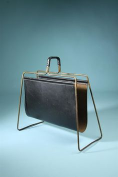 Carl Auböck; Brass and Leather Magazine Rack, 1950s.