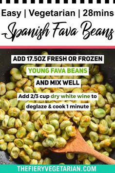 Looking for some easy vegan tapas ideas? Look no further, I've got you covered with this fresh or frozen fava bean recipe. Young fava beans (or baby broad beans, make sure they are green, not brown) cooked up in white wine with onions and garlic, perfect for scooping up with some fresh crusty bread. Serve with other Spanish appetizers for the perfect healthy party platter or casual dinner party meal. They're even vegan! Make them today in just under half an hour. Spicy Vegetarian Recipes, Vegetarian Appetizers, Vegetable Recipes, Vegan Recipes, Vegetarian Lunch Ideas For Work, Broad Bean Recipes, Tapas Ideas, Spanish Appetizers, Vegan Coleslaw