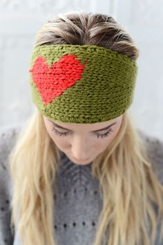 LOVE Knitted Heart Headband Olive and Red Ear by ThreeBirdNest