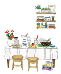 Kim Hee Jung for S-OIL magazine Cute Illustration, Watercolor Illustration, Watercolor Art, Kitchen Art, Illustrations And Posters, Doodle Art, Gouache, Cute Drawings, Cute Art