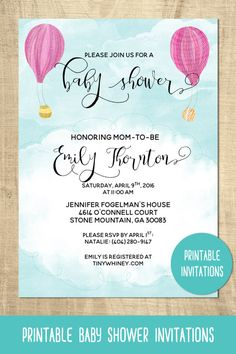 Hot air balloon baby shower invitations | printable baby shower invitations