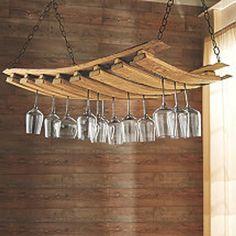 Incredible Wooden Wine Glass Rack Design Ideas - Page 17 of 38 Hanging Wine Glass Rack, Wine Glass Holder, Bottle Holders, Palettes Murales, Wine Barrel Crafts, Barris, Barrel Projects, Wine Barrel Furniture, Rack Design