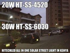 Hitechled all in one solar led street light illuminating in Kenya.