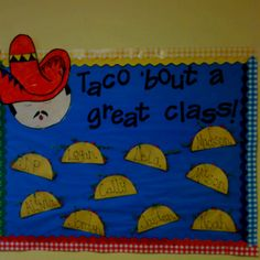 "0a9ffdbedd08816cd6923dbd9f7cad86.jpg (320×320) {Pinspiration for ""Taco 'bout some yummy books! - showcasing cooking books OR fiction books where food is on the cover!} Class Bulletin Boards, Bullentin Boards, Classroom Posters, Classroom Door, School Classroom, Toddler Classroom, Classroom Setup, School Teacher, School Fun"