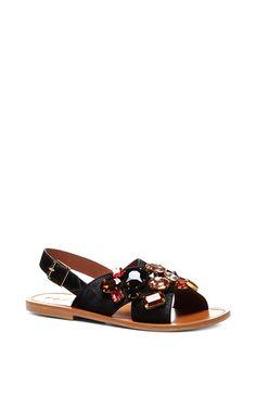 b95ef1dbcbd Embellished black flat sandals by MARNI Now Available on Moda Operandi  Marni Sandals
