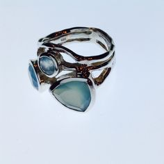 Soft blue green chalcedony sterling silver ring. Sculptural.