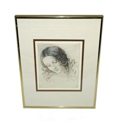 Vintage Lithograph Portrait, Lady with Braid in Gold Frame