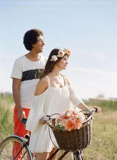 Bohemian engagement photo shoot Floral crown flower by the flower factory Makeup by Carol hung Photography by Nadia hung Hair by Emily hedman Shot with film  Boho bride boho bohemian headpiece  Teepee bike vintage