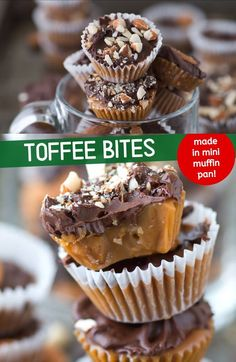 Homemade almond toffee bites made in a mini muffin pan, which is genius! This is the best homemade no bake Christmas candy! Great for the holidays and gift giving. # no bake Desserts Easy Toffee Bites Köstliche Desserts, Delicious Desserts, Dessert Recipes, Finger Food Desserts, Cheesecake Desserts, Cheesecake Bites, Health Desserts, Sweet Desserts, Appetizer Recipes
