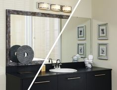 A MirrorMate frame in the Lexington style gives a finished look to this plate glass mirror - in just a matter of minutes. The frame is added directly to the mirror, while on the wall.  #frameyourmirror