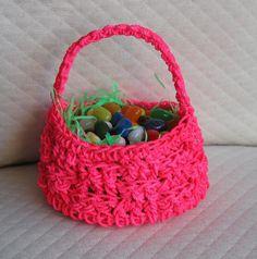 10 Free Crochet Easter Basket Patterns: Neon Crochet Easter Basket Pattern