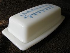 Vintage Pyrex Butter Dish Snowflake Blue Garland Winter by etrets, $14.99