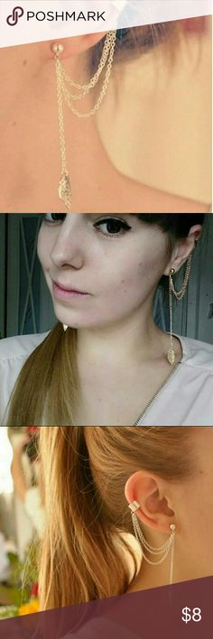 Ear cuff w /chain Cool Single ear cuff with chain.    Nickle free  For pierced ears only.   Made of Zinc alloy.   Punk style, Jewelry Earrings