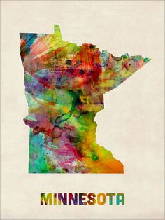 Minnesota Watercolor Map USA Art Print 12x16 inch 385 by artPause