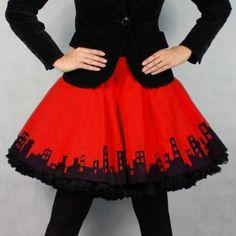 8c6f4d7612a4 FuFu sukně červené město s černou spodničkou
