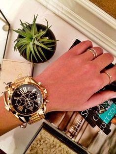 MK Watch, MK5739 BRADSHAW BLACK CHRONO DATE DIAL GOLD STEEL WOMEN WATCH