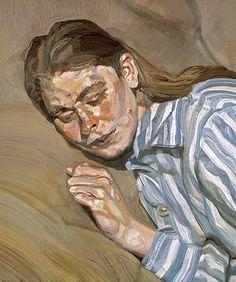Lucian Freud (b. 1922), Girl In A Striped Nightdress, Or Celia 1983-85.