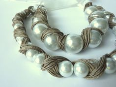 Pearls covered in Linen Linen Necklace by Cynamonn on Etsy