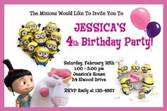 Despicable Me Minions Soccer Birthday Party Invitations Ebay