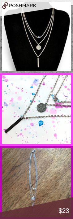 """✨NWT Crystal Bar, Silver Coin, 3 Tier Necklace✨ NWT Beautiful Crystal Bar, Silver Coin, Three Tier Necklace! The Three Tier's Consist of a Crystal, a Coin, & a Bar. Wear This Necklace to Dress Up Any Look! Only Have 5 So Get One While You Can! Measurement is 13"""" Long. Jewelry Necklaces"""