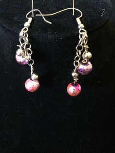 purple and pink crackle balls on chain dangles by ScottishDryad, $3.00