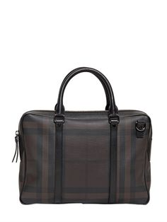 Checked Faux Leather Laptop Bag