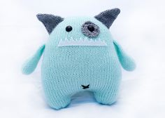 Dot the Hand Knit Stuffed Monster Toy by AllStuftUp on Etsy, $43.00