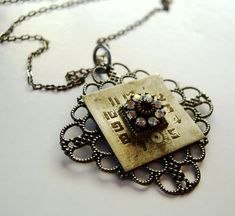 Items similar to Steampunk Necklace Watch Face Filigree Rhinestones on Etsy Jewelry Crafts, Jewelry Art, Vintage Jewelry, Jewelry Ideas, Jewelry Necklaces, Key Jewelry, Vintage Keys, Vintage Frames, Statement Necklaces