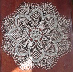 This beautiful handmade doily is made from white cotton thread, size This elegant doily will look beautiful on any table or can be used for any other decorative purpose. Crochet Motifs, Filet Crochet, Irish Crochet, Crochet Doilies, Crochet Lace, Lace Knitting, Baby Knitting Patterns, Knitting Stitches, Crochet Patterns