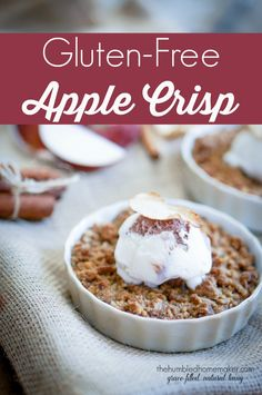 This gluten-free apple crisp will please a crowd--even if the guests aren't gluten-free! It's an easy and delicious gluten-free apple crisp recipe! It would be the perfect alternative to apple pie on Thanksgiving or Christmas or can be enjoyed all year ro Gluten Free Deserts, Gluten Free Sweets, Foods With Gluten, Gluten Free Cooking, Gluten Free Recipes, Gf Recipes, Potato Recipes, Pasta Recipes, Sweet Recipes