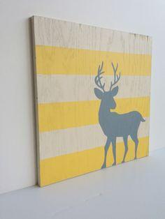 Hand Painted Woodland Nursery Art - Deer Nursery Decor - Yellow and Gray Nursery - Woodland Decor - Nursery Wall Art - Deer Art - Antler Art by SweetBananasArt on Etsy (null)