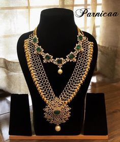Code- P103.Fashion is what you buy and style is what you do with it . Beautiful long haaram with gold ball hangings. Necklace studded with uncut diamonds and pearl doping. 15 March 2018
