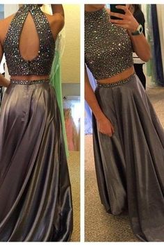 Satin Prom Dress,High Neck Senior Prom Dress, Gray Prom Dress, Beading Prom Dresses,Long Evening Dress,Party Dresses 2017,Two Piece Prom Dress