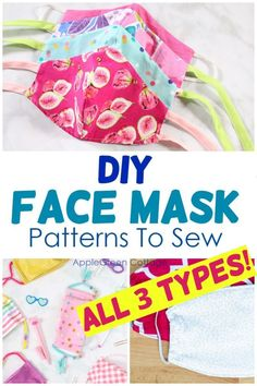 Updated to include all types of diy face masks, even the latest box-pleated face mask! - See how to make face masks with these diy face mask patterns. Free patterns to make non-surgical homemade face protection masks, fitted face masks and pleated face mask patterns plus a lot of face mask sewing tips and resources. Check them out now! #facemask #diyfacemask #homemadefacemask #covid Easy Craft Projects, Sewing Projects For Beginners, Craft Tutorials, Free Sewing, Sewing Tips, Sewing Hacks, Diy Face Mask, Face Masks, List Of Fabrics