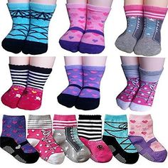 BSLINO Assorted 6 Pairs 12-24 Months Baby Girl Toddler Socks Non-Skid Anti Slip Stretch