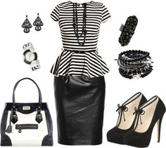 """""""Black and White Work outfit"""" by latausha-lee on Polyvore"""