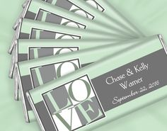 "Mint Green Wedding Ideas: Personalized ""Love"" themed favors in mint and gray for your candy buffet"