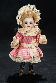 German All-Bisque Miniature Doll, 886, by Simon and Halbig in Original Dress 500/700