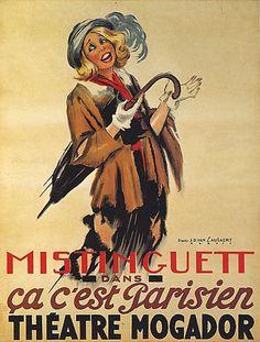 MISTINGUETT PARIS THEATRE MOGADOR UMBRELLA REPRO POSTER #Vintage