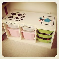 IKEA Hackers: Easy Trofast play kitchen. Smart storage and play area. I think the top was simply drawn on but you could go a step further and print and glue the images or use washi tape.