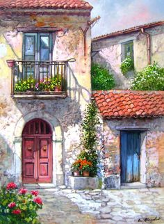 Buy Villa in Santorini - Cities Paint By Number kit or check our new modern collections for adults paint by numbers. Relax and enjoy your canvas painting Paint By Number, Watercolour Painting, Watercolours, Watercolor Sketch, Watercolor Illustration, Diy Painting, Beautiful Paintings, Painting Inspiration, Art Pictures