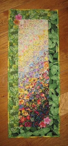 Art Quilt Sunny Garden Flowers Fabric Wall Hanging by TahoeQuilts