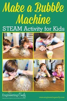My kids love bubbles, and we go through them so quickly. This is an easy and fun simple, homemade bubble machine that will be sure to please bubble lovers in your family! And I teach you the STEAM concepts your kids are learning while they play! Playdough Activities, Science Activities For Kids, Steam Activities, Bubble Games For Kids, Hawaiian Party Games, Science Valentines, Homemade Bubbles, Bubble Machine, Stem For Kids