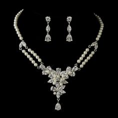 Vintage Inspired Pearl and CZ Wedding Jewelry Set--Affordable Elegance Bridal -