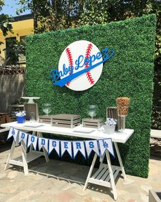 Backdrop, base ball sign and table by table decor provided by our client and display by W… – Baby Shower Dodgers Baseball, Dodgers Party, Baby Shower Backdrop, Baby Shower Table, Baby Boy Shower, Baby Shower Baseball, Shower Party, Baby Baseball, Diy Baby Shower Decorations