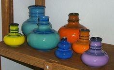 Group of Jasba 1166 vases in yellow 12cm, blue 18cm & 20cm, orange 12cm & 18cm, purple 12cm + a 10cm Steuler 232 in cobalt blue, all circa 1960's - 1970's.
